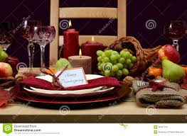 happy thanksgiving classic table setting stock photo image