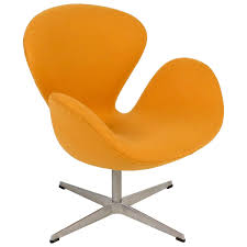 yellow swan chair jacobsen on swivel base 1stdibs com mid