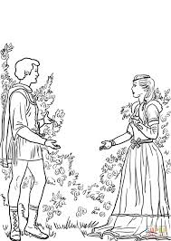 romeo and juliet in the garden coloring page free printable
