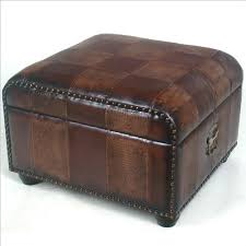 Trunk Ottoman Ottoman Trunk W Patchwork Faux Leather Upholstery And Nailhead