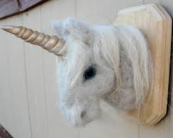 needle felted unicorn faux taxidermy head mount by