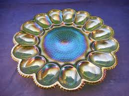 carnival glass egg plate green hobnail carnival glass egg plate 56 25 picclick
