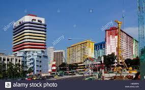 coloured houses colourful buildings singapore apartments stock
