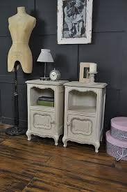 pair of white and grey shabby chic french bedside tables sold