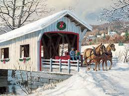 winter saturday ride equine bridge painting snow horses