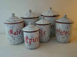 enamel kitchen canisters french enamel kitchen canisters set of six by joellecutro on etsy