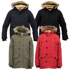 boys jacket parka coat brave soul kids padded sherpa hooded fur