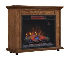 Amish Electric Fireplace 33 Infrared Premium Oak Rolling Mantel Electric Fireplace