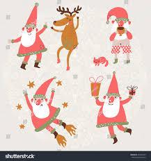 funny santa claus deer vector set stock vector 231832429