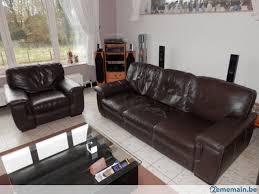 canape fauteuil salon en cuir brun foncé canapé 3 places et fauteuil gratuit