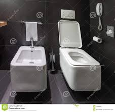 Black Toilet by Bathroom With Black Toilet Bowl And Bidet Royalty Free Stock Photo