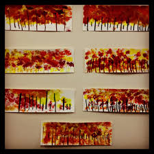 kindergarten art project fall tree line www bloomshoppe com