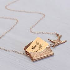 personalised mini love letter necklace in rose gold by maria allen
