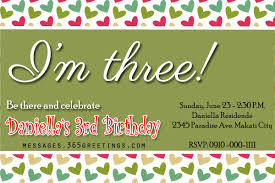 birthday text invitation messages 3rd birthday invitations 365greetings