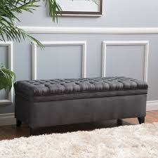 fancy grey tufted storage ottoman with collection in ottomans with