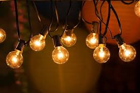 hanging globe lights indoors 25ft g40 globe string lights with clear bulbs ul listed backyard
