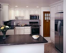 kitchen style white cabinets and black appliances small kitchen