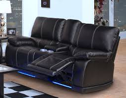 black bonded leather reclining sofa console storage lighted drink