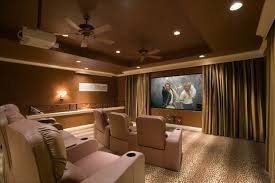 Media Room Lighting Fixtures Home Theater Design In Modern Style With Three Lighting Fixtures