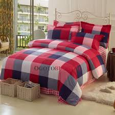 Red Gingham Duvet Cover England Style Plaid Red Cotton Duvet Cover Set Of 4 Piece Buy Red