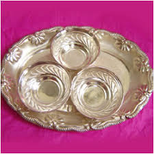 silver gift items india shape plate with 3 bowls silver send silver gifts to