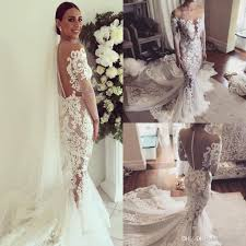 2017 new design lace mermaid wedding dresses with cathedral train