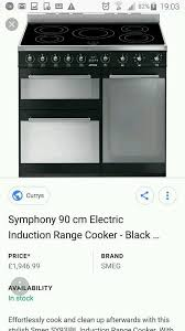 Smeg 110 Gloss Black Induction Brand Smeg 90cm Induction Range Cooker In Weston