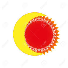 Flag Yellow Sun Yellow Moon And Orange Sun With Gradient On White Background