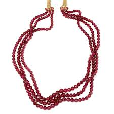 bead necklace images images Triple strand ruby bead necklace 309 86 carats not dyed once jpg