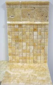 1x1 honey onyx polished mosaic tiles meshed on 12x12 marble