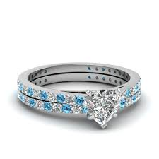 diamond wedding ring sets for heart shaped diamond wedding ring set with blue topaz in 14k