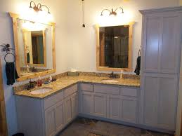 Shaped Bathroom Mirrors by Bathroom L Shaped Grey Wooden Bathroom Vanity With Double Mirror