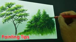 acrylic painting lesson how to paint tree leaves by jmlisondra