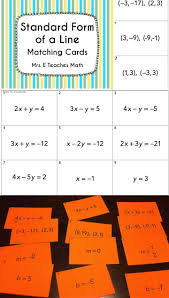 standard form of a line matching cards great algebra activity algebra writing linear equations chapter 5