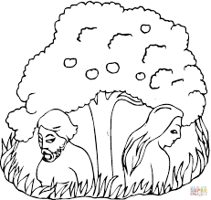 adam and eve under the tree coloring page free printable