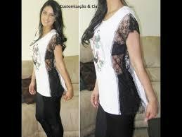 Fabuloso Camiseta com renda nas laterais by Customização & Cia - YouTube #NJ59
