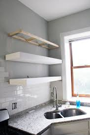 floating kitchen shelves with lights chunky diy floating kitchen shelves