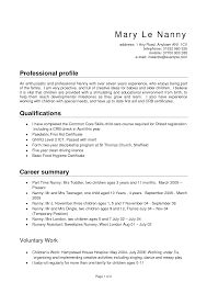 Professional Profile For Resume Nanny Objective Resume Resume Peppapp