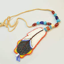 necklace beaded images Necklace beaded eagle feather with peyote stitch the wandering jpg