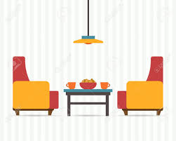 home interior vector chairs with small table home interior flat style vector