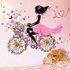 kinderzimmer deko m dchen fahrrad blumen mädchen wandaufkleber wandsticker wandtattoo