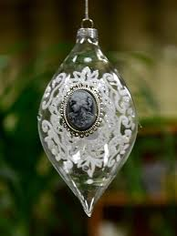christmas tree ornament glass ball with cameo cabochon bauble