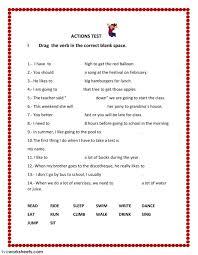 action verbs interactive worksheets