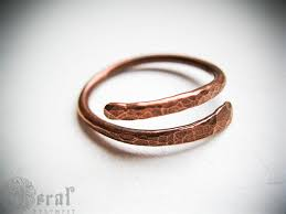 worry ring rustic minimalist hammered thumb ring in copper or sterling silver