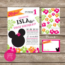 diy minnie mouse luau invitation kit invite and thank you card