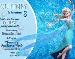 frozen invitation for birthday party with elsa dress