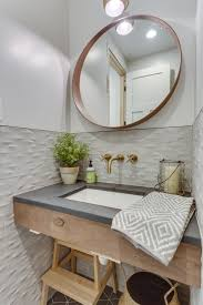 powder room half bath hex tile 3d tile soapstone counter