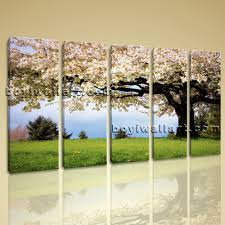 Big Wall Art Canvas Print Landscape Cherry Blossom Tree Gallery Wrapped Wall