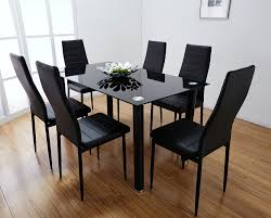 Dining Room Sets For 6 Chair Black Glass Dining Table And 6 Chairs Uotsh