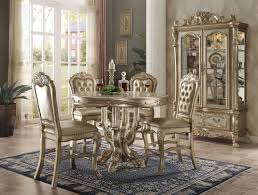acme dresden 5 piece round counter height dining table set in gold